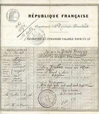 PASSEPORT A L'ETRANGER VALABLE POUR UN AN - 1907, Artiste Lyrique