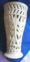 CLASSIC LENOX Creme Lattice Pierced Acanthus Vase with NO Glass Insert Gold Trim