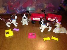 Vintage 1993 Kenner Littlest Pet Shop Beethoven Dog Movable Head Red Wagon Lot