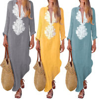 Women Long Sleeve Cotton Linen Kaftan Long Maxi Ladies Summer Loose Dress