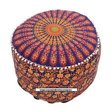 Peacock Mandala Cotton Beautiful Design Indian Ottoman Pouf Cover Handmade Art