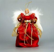 "10"" Lifelike Angel Tree Topper Porcelain Doll Christmas Decor Ornament Red Wings"