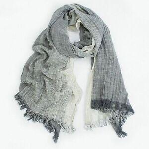Crinkle Shawl Men Women Muffler Hijab Spring Summer Cotton Blend Gradient Scarf