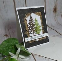 Masculine Birthday Card, Trees Nature Birthday, Rustic Card, Stampin Up Notecard