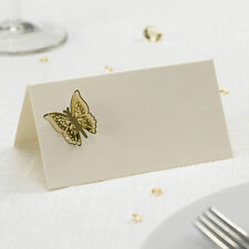 3D BUTTERFLY TABLE PLACE NAME CARDS Pack 10 IVORY GOLD Settings Wedding Party