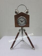 Vintage Maritime Wooden Desk Clock On Tripod Nautical Table Clock Home Decor