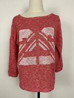 Seed Heritage Womens Scoop Neck Relaxed Cotton Red Marle Sweater Sz Small A13