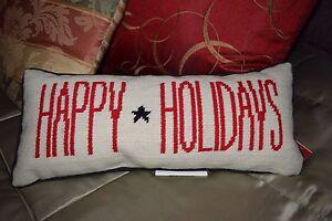 "NEW POTTERY BARN Happy Holidays Pillow 100% Wool 7"" x 16"" Lumbar Christmas NWT"