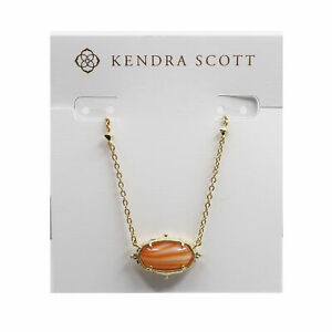 Kendra Scott Elisa Baroque Oval Pendant Necklace in Orange Banded Agate and Gold