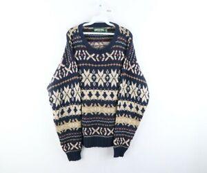 Vtg 90s American Eagle Mens Large Fair Isle Print Crewneck Sweater Cotton USA