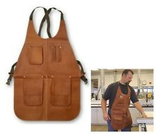 Garage Leather Apron Top Pockets for Pencil Small Tools Welding w Heat Resistant