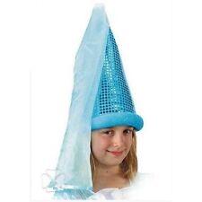 Chapeau de fée bleu lamé et paillettes avec voile comme au Moyen deguisement