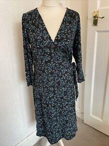 Laura Ashley Navy & Blue Floral Jersey Wrap Dress Size 14