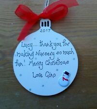 NURSERY TEACHER CHRISTMAS BAUBLE TREE DECORATION GIFT PRESENT