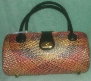 Plastic Wicker Pocketbook Handbag Purse Multicolor Spring Bag