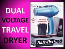 NEW! BABYLISS PRO NANO TITANIUM BLUE FOLDING DUAL VOLTAGE TRAVEL HAIR BLOW DRYER