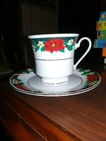 Tienshan Deck the Halls China Cups & Saucers Set of 4
