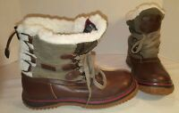 NEW WOMEN'S PAJAR BROWN ICELAND WATERPROOF SHERPA LINED LEATHER BOOTS SIZE 6 6.5