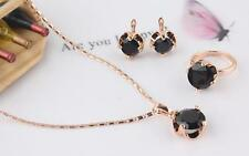3PCS Women 18k Rose Gold Filled Black Beads Necklace Earring Ring Jewelry Sets
