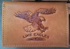 NEW Men's Christian IS 40:31 Bald Eagle GENUINE LEATHER TAN BROWN Trifold WALLET
