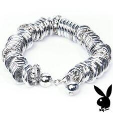 Playboy Bracelet Infinity Ring Swarovski Crystal Gem CZ Silver Bunny Logo NIB 5y
