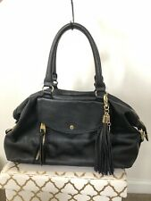 Steve Madden Large Faux Leather Black Double Handle Handbag Shoulder Bag Purse