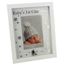 """Bambino Baby's 1st Christmas 4"""" x 6"""" Photo Frame Snow Flakes Silver Pram Icon"""