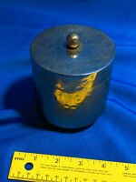 Hand Hammered Metal Small Lidded Bucket Ice Candy Dish Jewelry Box Trinket