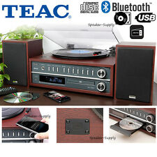 Teac Bluetooth Turntable Record Player CD FM USB Speakers System Cherry D800CH