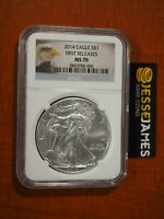 2014 $1 AMERICAN SILVER EAGLE NGC MS70 FIRST RELEASES BALD EAGLE LABEL