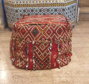 Square Moroccan Rug Ottoman Pouffe Pouf - Vintage Handmade kilim Azilal pouf