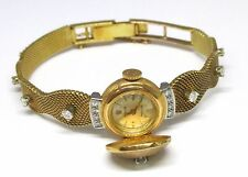 Vintage Rolex Watch 18K Yellow Gold Diamond Ladies Flip Cover Unique Antique