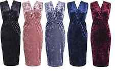 Womens Ladies Crushed Velvet V-Neck Bodycon Cocktail Party Evening Dress 10-18