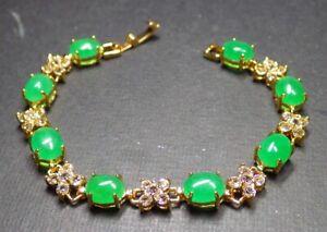 Gold Plate Green JADE Cabochon Beads Bangle Bracelet Diamond Imitation 手链 320672