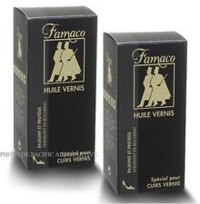 Lot de 2 x HUILE VERNIS pour chaussures en cuir crème cirage protège FAMACO