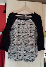 Damen sweatshirt 3/4 länge Größe s h&m schwarz weiß zebra optik