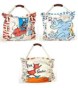 Dr. Seuss Large Canvas Tote Bag Cat Horton Fox NEW Handbag 100% Authentic