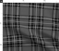Black And White Plaid Grey Check Tartan Masculine Spoonflower Fabric by the Yard