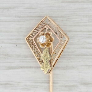Antique Synthetic White Sapphire Stickpin 14k Yellow Green Gold Floral Pin