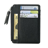 NE_ Men Faux Leather Credit Card Cash Holder Case Zipper Slim Wallet Coin Purses