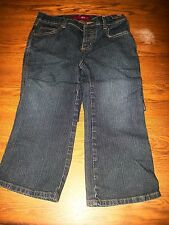 GLO Size 5 Short Straight Leg 5 Pocket Blue Jeans Button Fly Decorated Pockets