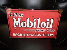 Antique style porcelain look gargoyle mobil oil dealer sales gas station sign