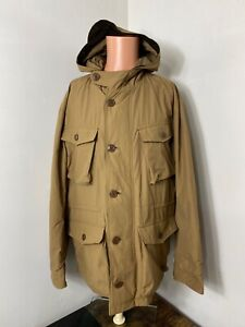 JCrew Wallace & Barnes men's tan full zip button Utility Parka Jacket XL