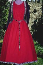 Sca Garb Medieval Gown Renaissance Costume BlackRed SdlessSurcote & Kirtle L Xl