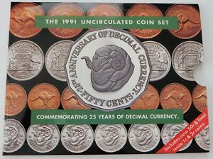 1991 Australian Uncirculated Coin Set ~ 25th Anniversary of Decimal Currency