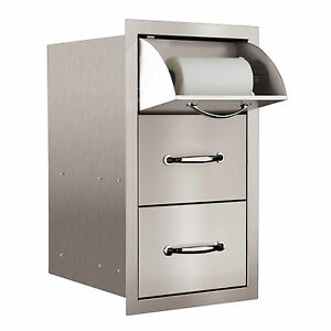 "STG Excalibur Premier 15"" Stainless Steel Towel & 2 Drawer Combo Model# STGTDC-1"