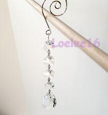 "6 Pc Crystal Oval Tear Drop Hanging Jewel Clear Ornament Wedding Garland 7"""