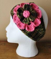 Camouflage With Pink Flower Adult Women's Teens Handmade Crochet Headband