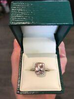 Stunning Ernest Jones Morganite, Diamond and 9k White gold ring size H 1/2