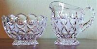 """Vintage Etch Cut Crystal Glass Creamer & Sugar Clear Footed 4""""x 3"""" 1-lb 8-oz EC"""